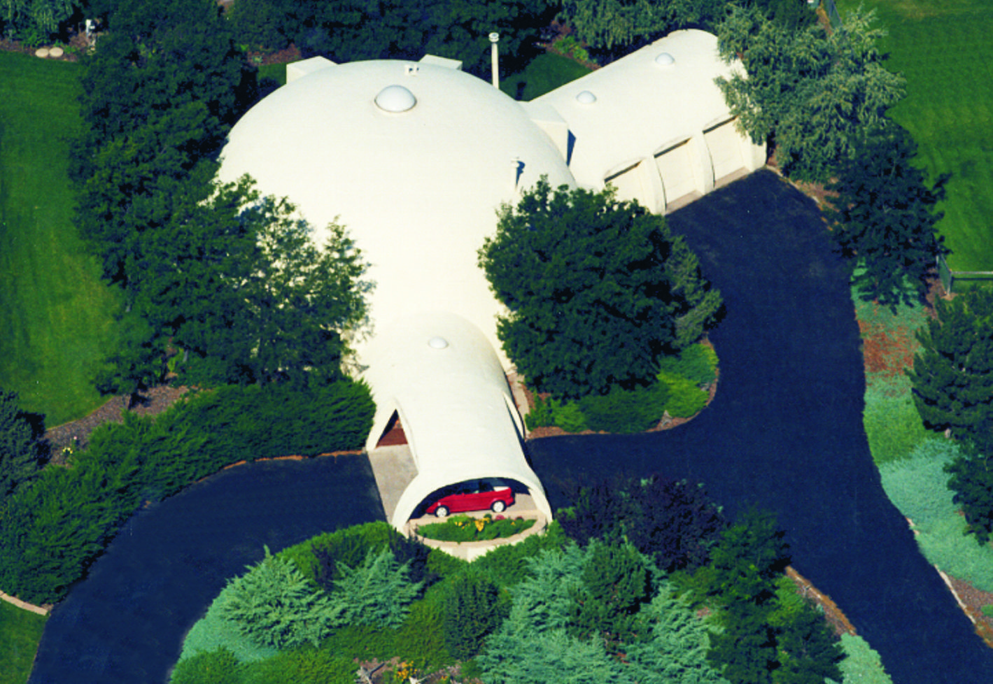 Aerial view of dome home