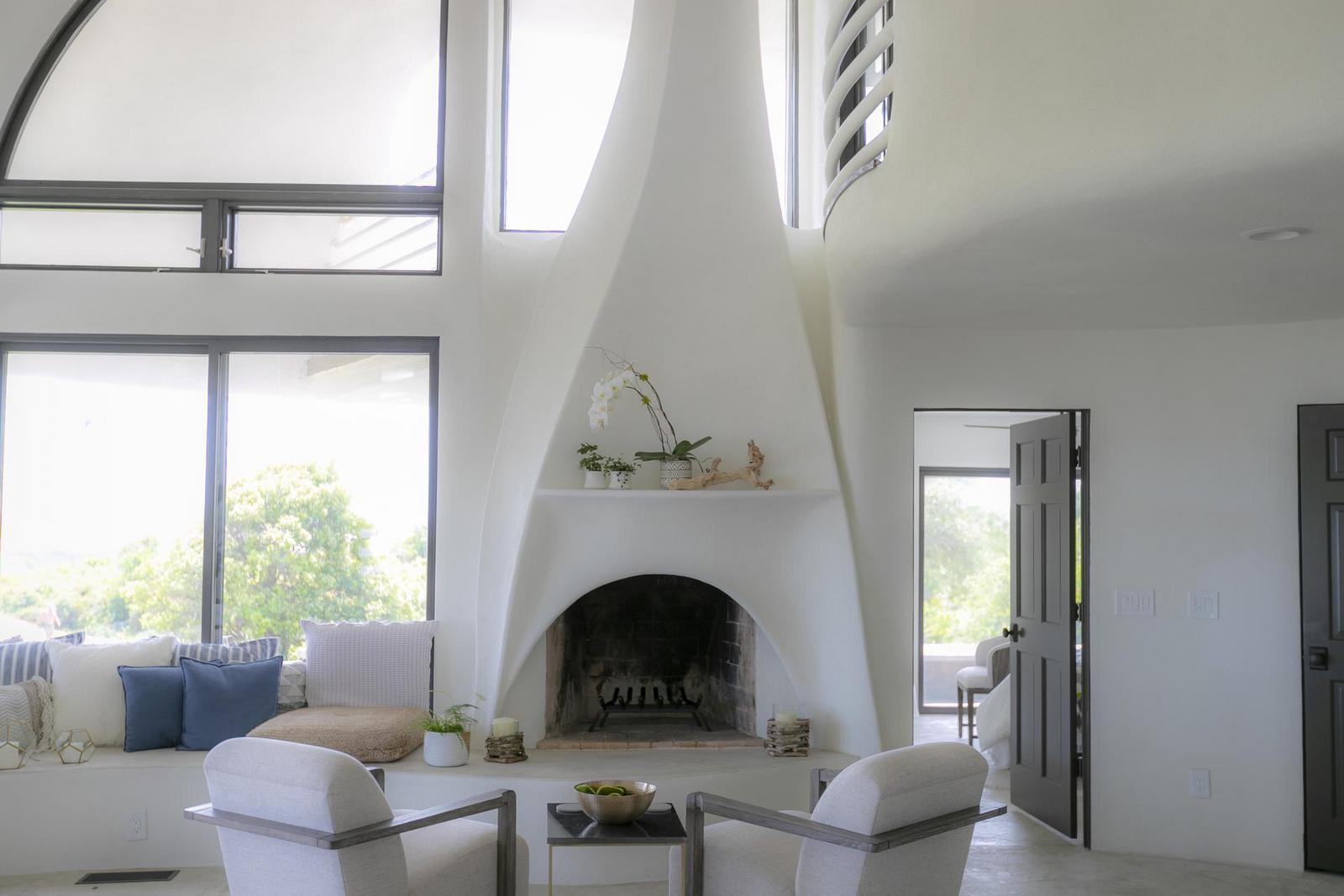 Sculpted fireplace