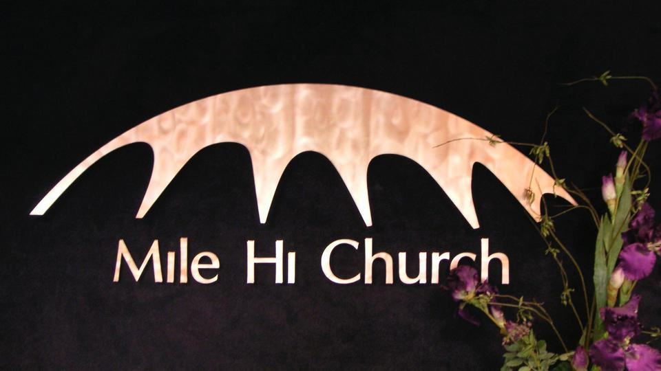 Mile Hi Church logo is of the earth-bermed concrete shell