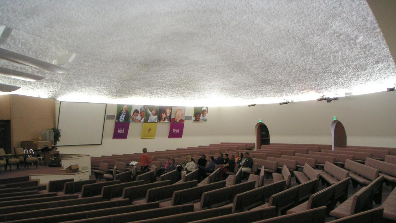 Interior auditorium of the earth-bermed structure.