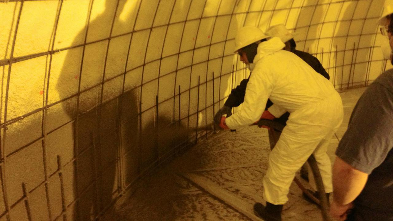 Spraying shotcrete