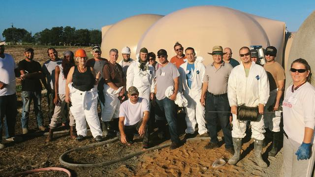 Workshop attendees complete two domes