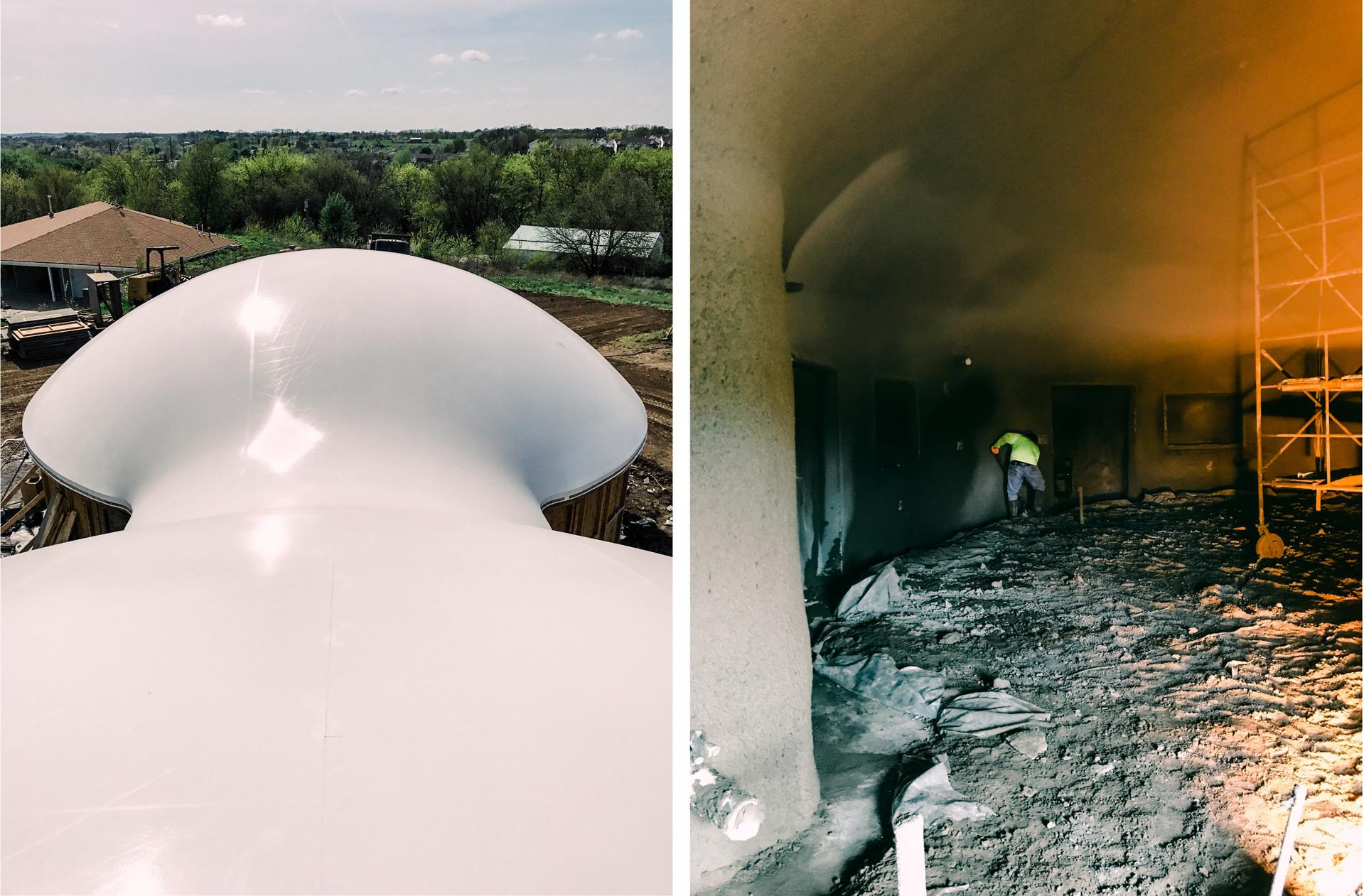 Two images show aerial view and interior construction of Shalom dome.