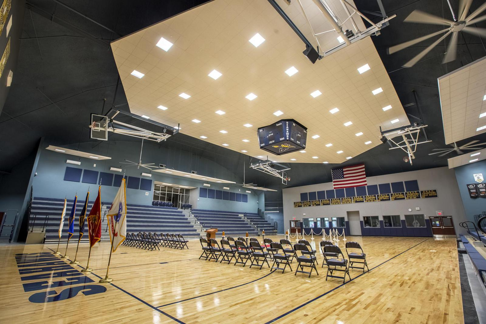 Gymnasium inside Anthony N. Fusco, Sr. Athletic Center