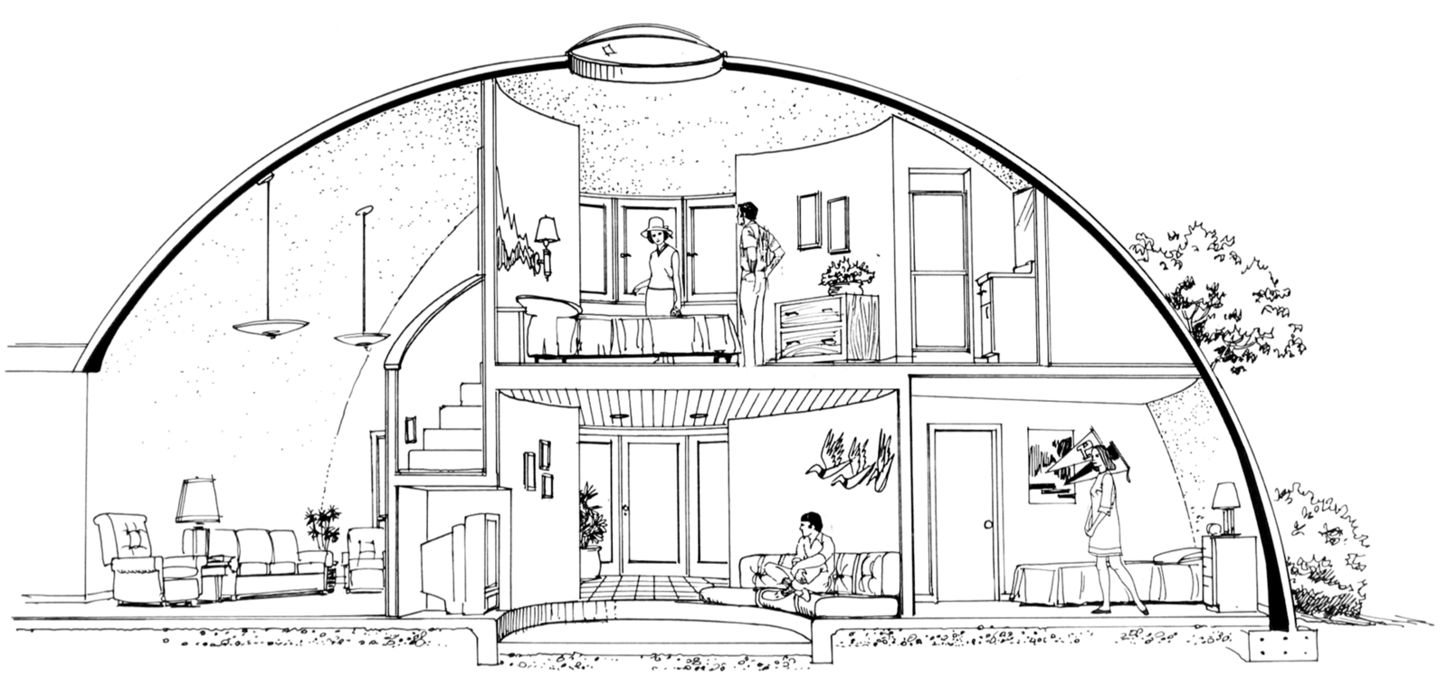 Artist's concept sketch of interior of a large Monolithic Dome home.