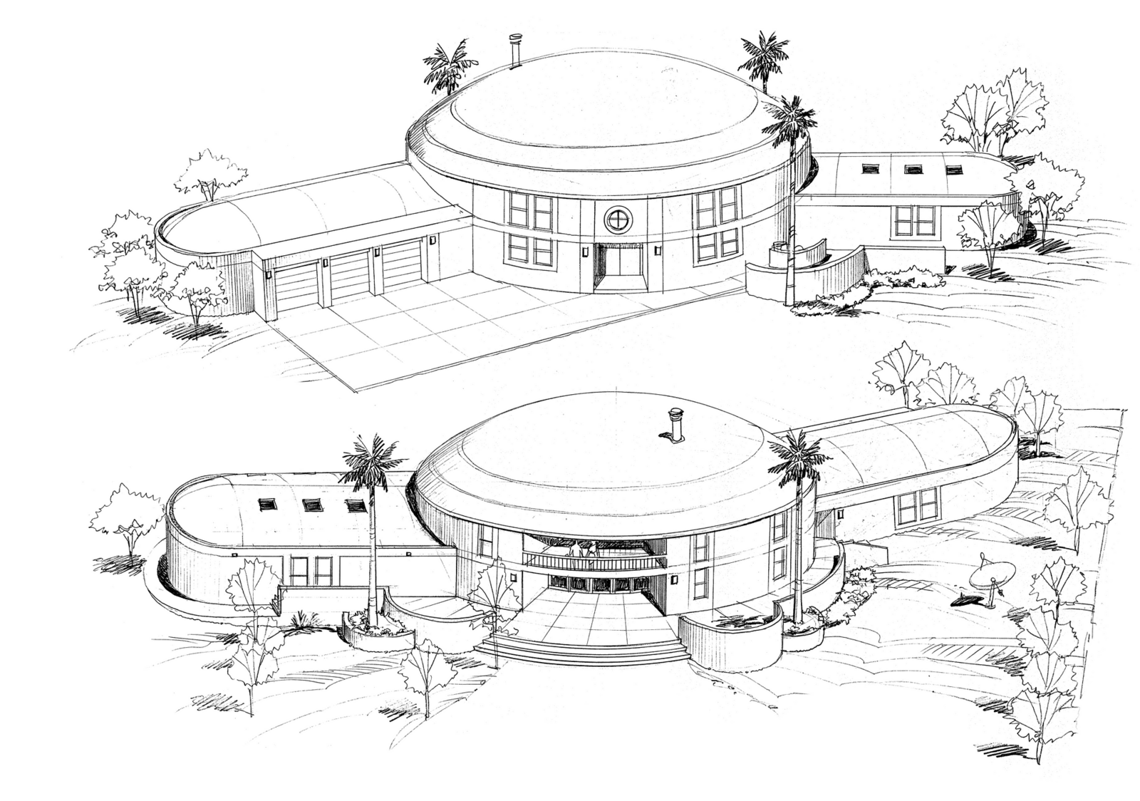 Front and rear elevations of proposed Monolithic Dome home.