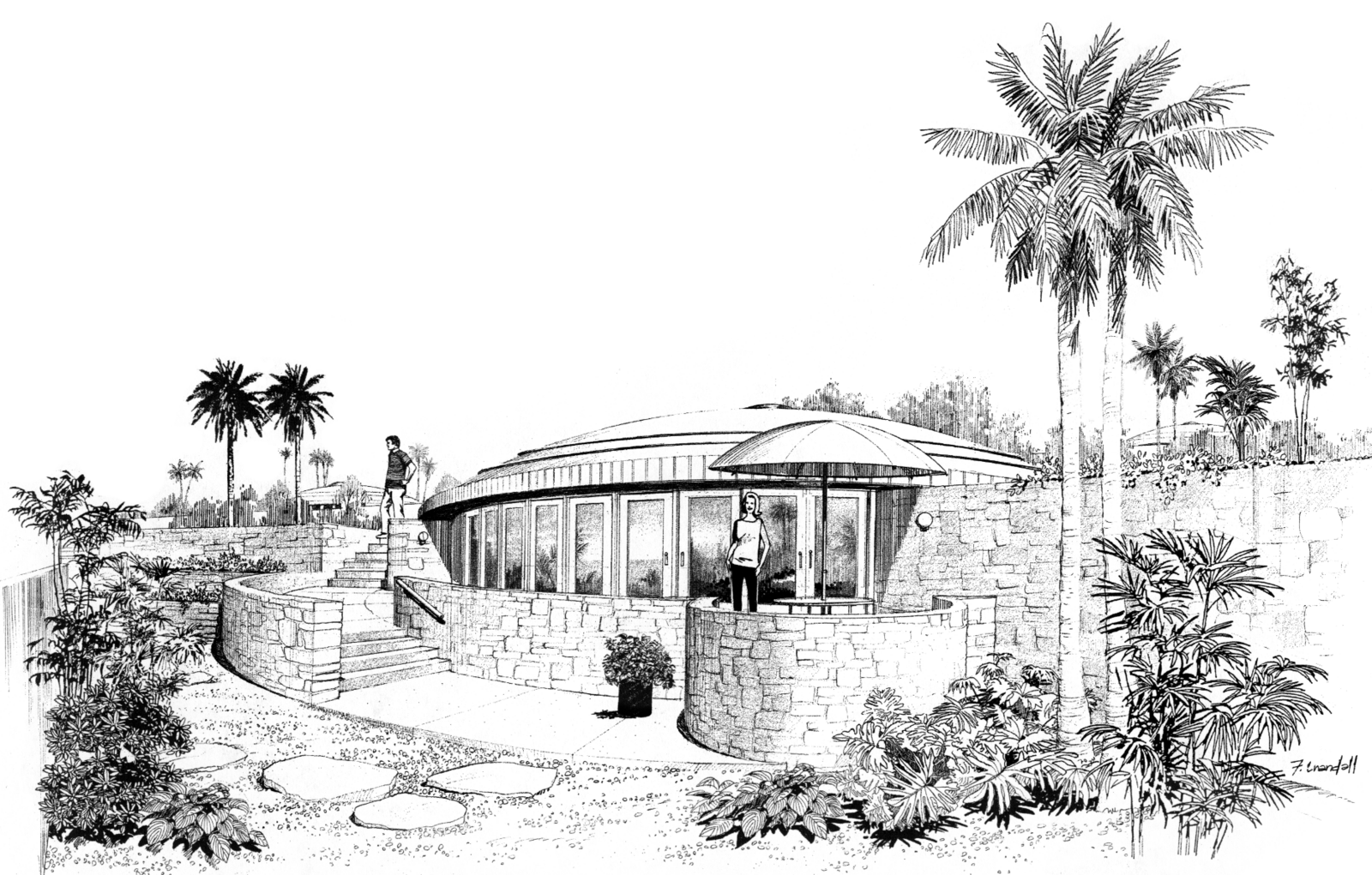 Beautiful exterior sketch of a Monolithic Dome Home.