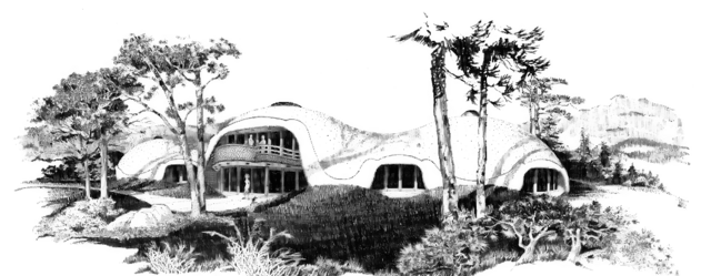 Artist's rendering of beautiful triple dome with undulating curves.
