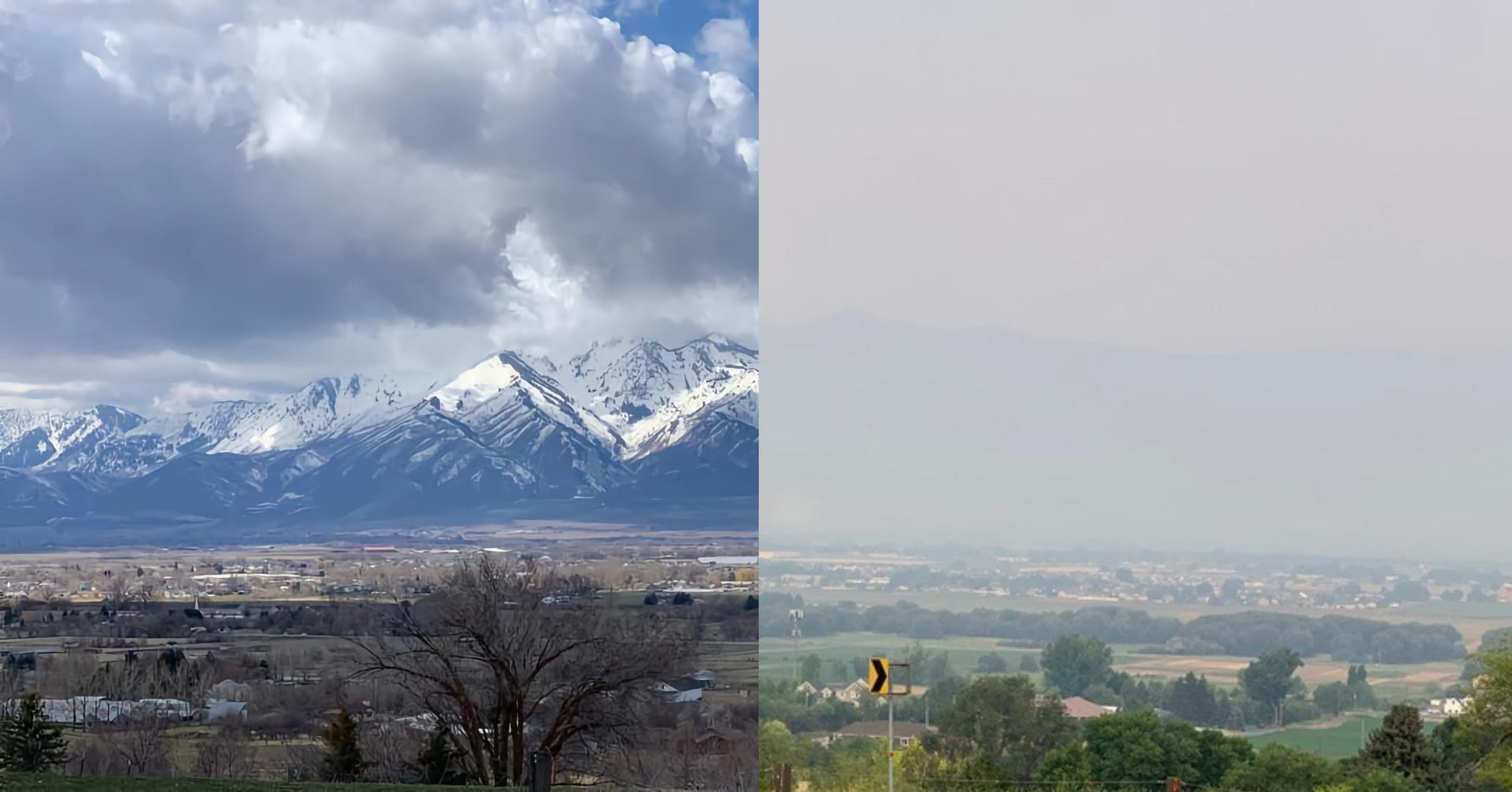 Comparison of Wellville mountains before and during smoky days