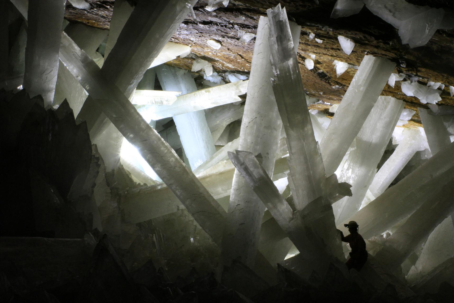 "Giant gypsum selenite crystals in the ""Cave of Crystals"""