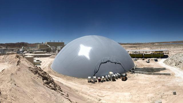 Panorama of gypsum storage