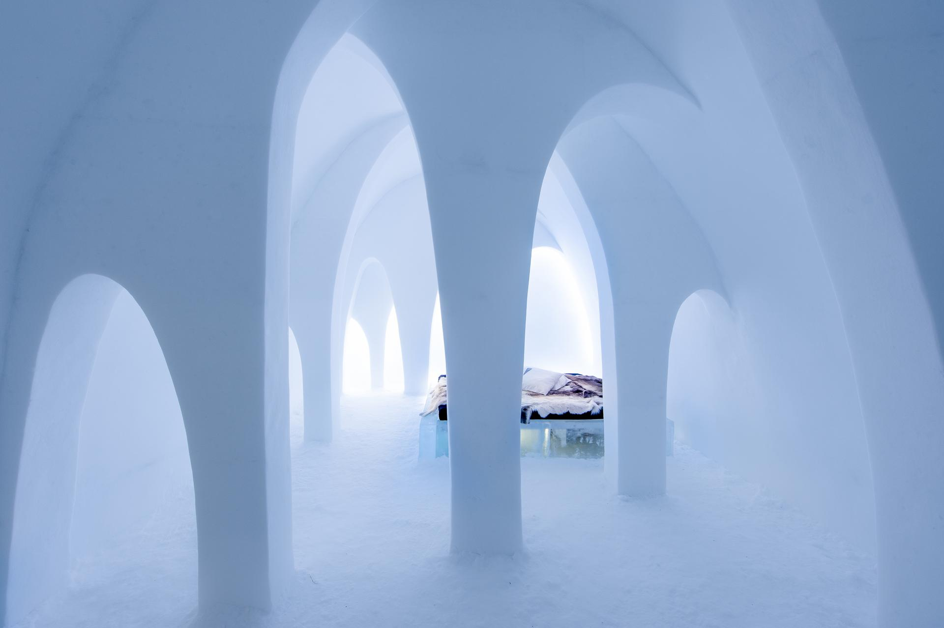 """The Flying Buttress"" bedroom suite with snow columns"