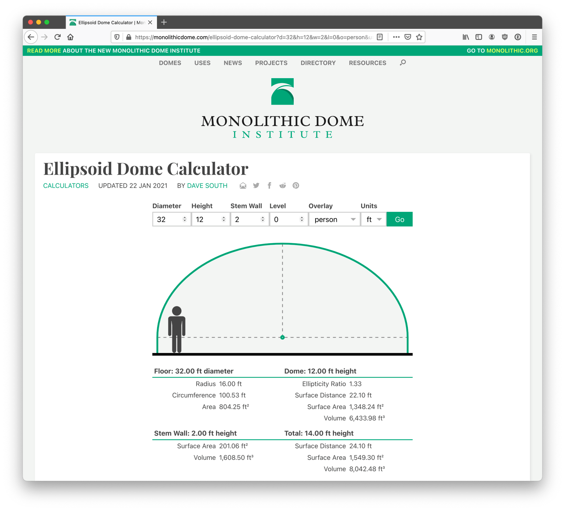 Screenshot of finished ellipsoid dome calculator